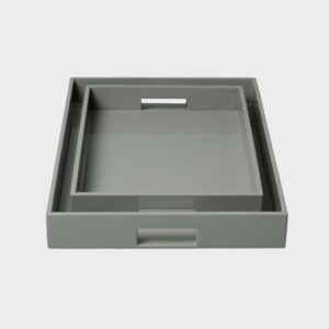 Lacquer Tray – Rectangular – Smoke Grey – Small & Medium