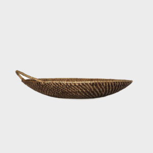 Laurelle – Rattan Platter with Handle – Round – Walnut
