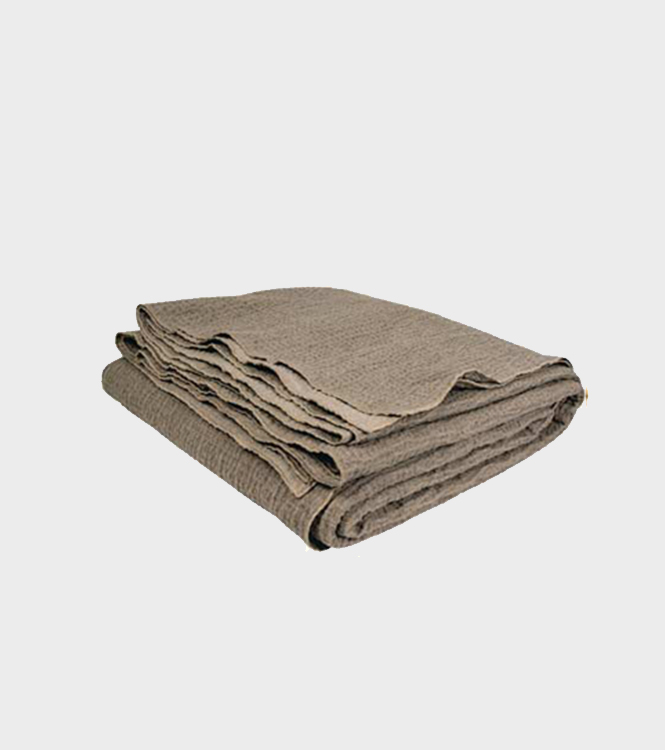 Quilted Crumpled Washed Linen Throw – Taupe/Cement – Small & Large