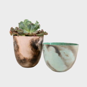 Smoked Fired Vase – Wide Tall