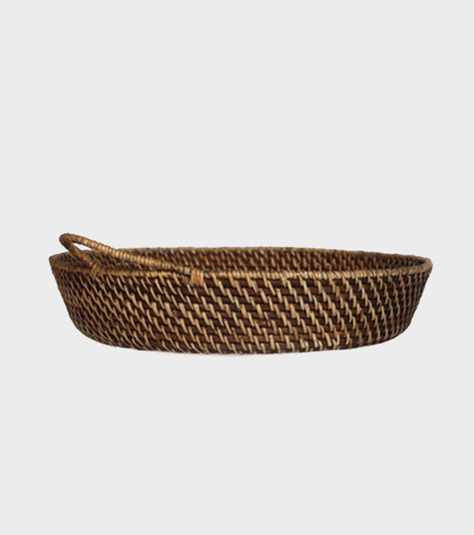 Laurelle – Rattan Tray with Handle – Round – Walnut