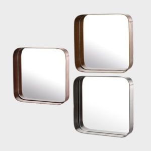 Mirror Metal Edge Squares - S/3
