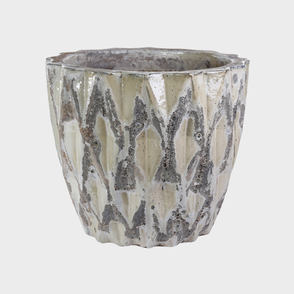 Malla White Ceramic Pot