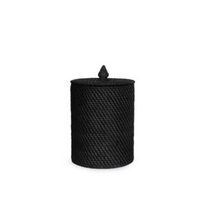 Rattan RD Wastebasket with lid - Black