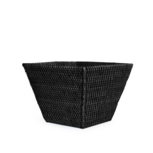 Rattan Wastebasket Rectangular BLACK
