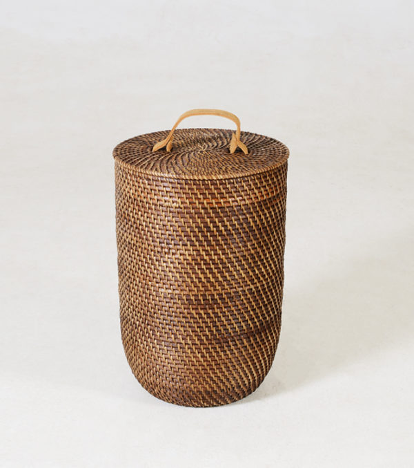 Nagoya-Laundry-Basket---NARROW---Walnut-leather-handle