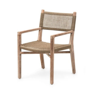 Dining Chair Fiona with Arms - Teak & PE Wicker