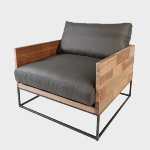 Block Occasional Chair -Natural Old Wood over Worn Black Iron Finish