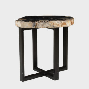 Stone Disc Side Table on Metal Legs