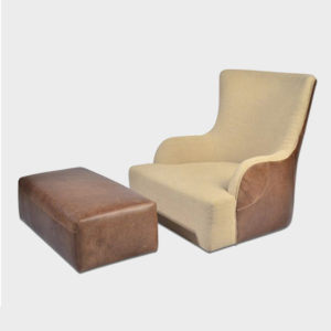 Lui Chair / Leather and Fabric & Ottoman / Leather