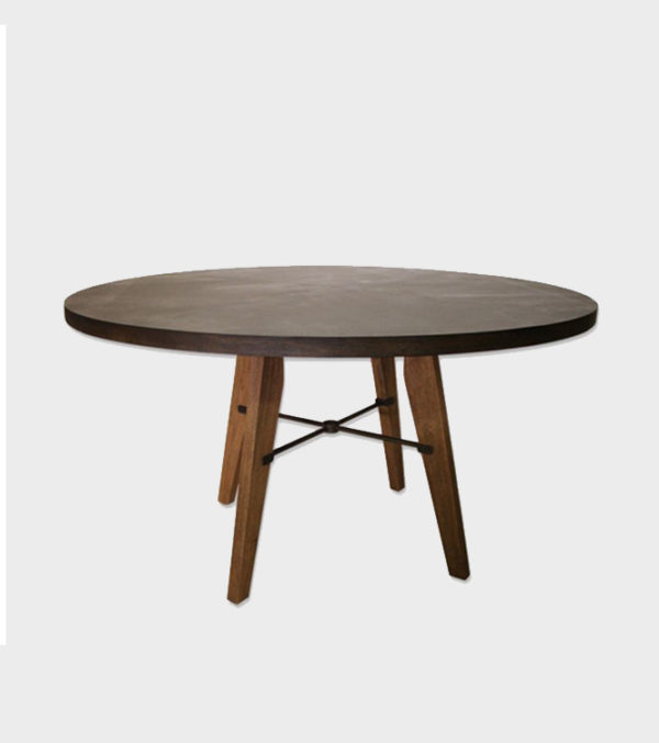 James Dining Table – round with metal top – mahogany legs