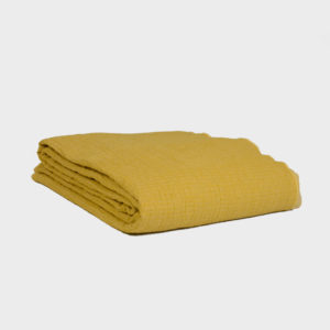 Quilted Crumpled Washed Linen Throw – Ocre/Paille