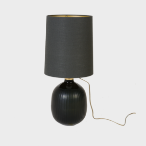 Lamp - Stripe Grey Glass with Shade