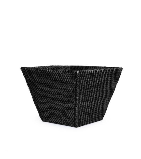 Rattan Wastebasket Rectangular BLACK