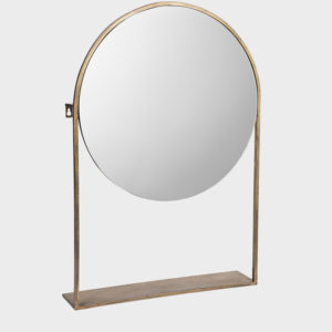 Mika-Iron-mirror-on-base---Round