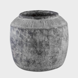 Nuo grey Cement Pot with border XL