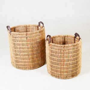 Andy-Merchantile-Basket-with-Leather-Handle----Round---SMALL