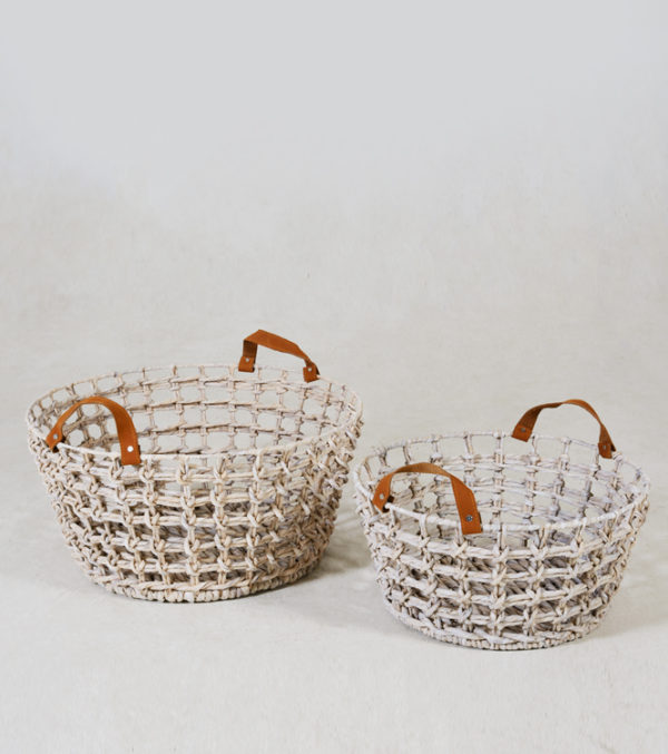 Floyd-Bowl-Basket-with-leather-handle---SMALL