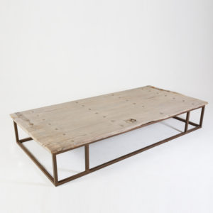 Coffee-Table-XXL----Old-door-on-iron-base