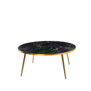Coffee Table Marble look - Black Gold Feet