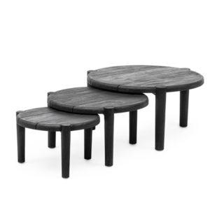 Coffee Table Floor Set3 - Teak - Black