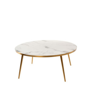 Coffee Table Marble Look - WHITE with gold feet